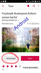download route via IZI travel op Android
